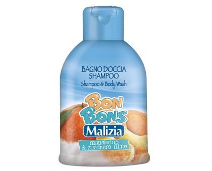 Мalizia Шампунь гель Bon Bons Mandarino zucchero 500 мл, Шампунь гель Bon Bons Mandarino zucchero
